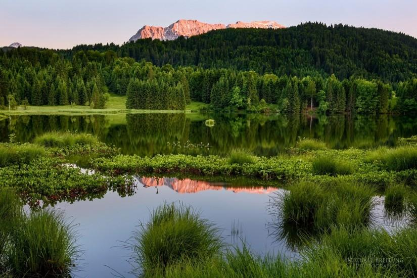 Preview wallpaper forest, mountains, summer, landscape, water 1920x1080
