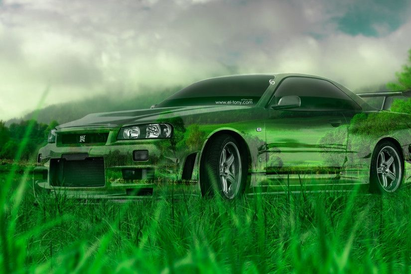 4K Nissan Skyline GTR R34 JDM Crystal Nature Car 2015