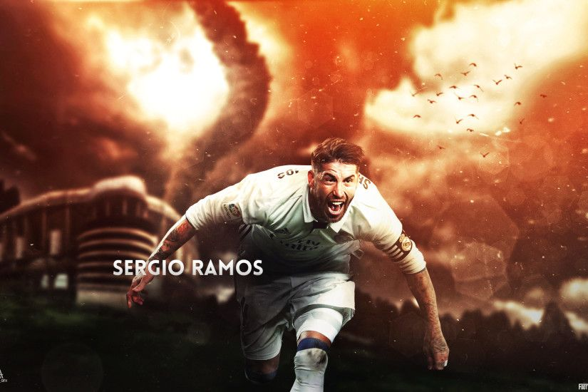 Desktop wallpaper of Sergio Ramos while playing for Real Madrid in the  2016/17 season. Made together with ArsalGFX