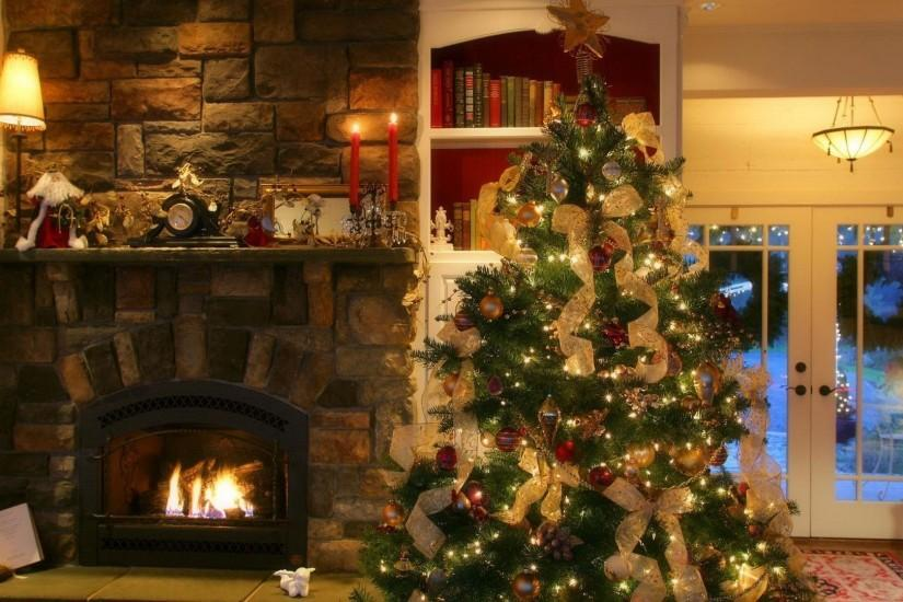 Fireplace Christmas Pictures Background Wallpaper 1920x1080PX .