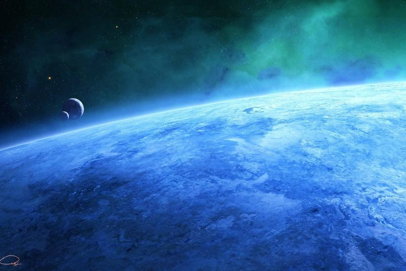 Blue Earth Fantasy Art Outer Space Planets Qauz Stars Wallpaper ...