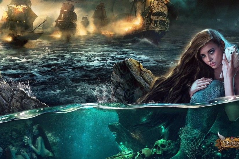 PIRATES TIDES Of FORTUNE strategy action fighting pirate mmo rts online  warrior mermaid mood artwork wallpaper