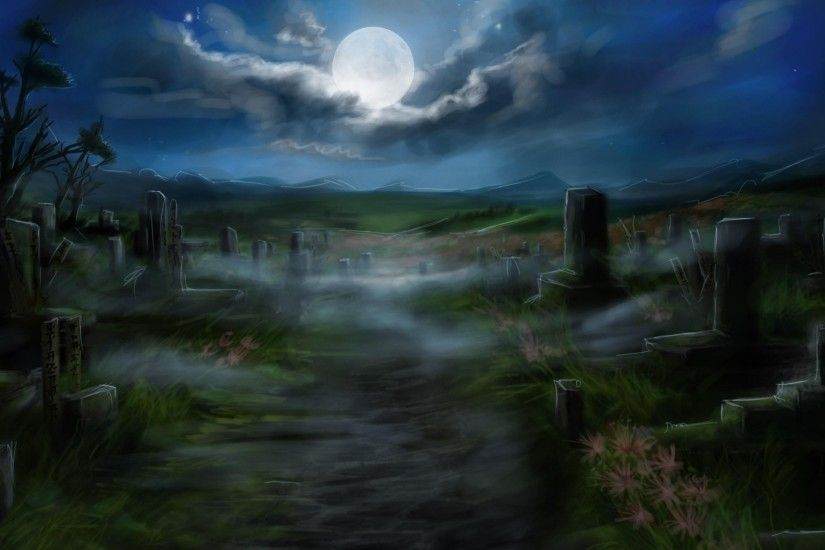Preview wallpaper cemetery, tombstones, full moon, road 1920x1080