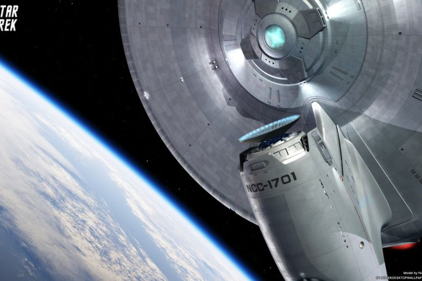 Star Trek USS Enterprise Leaving Earth Orbit - free Star Trek computer desktop  wallpaper,
