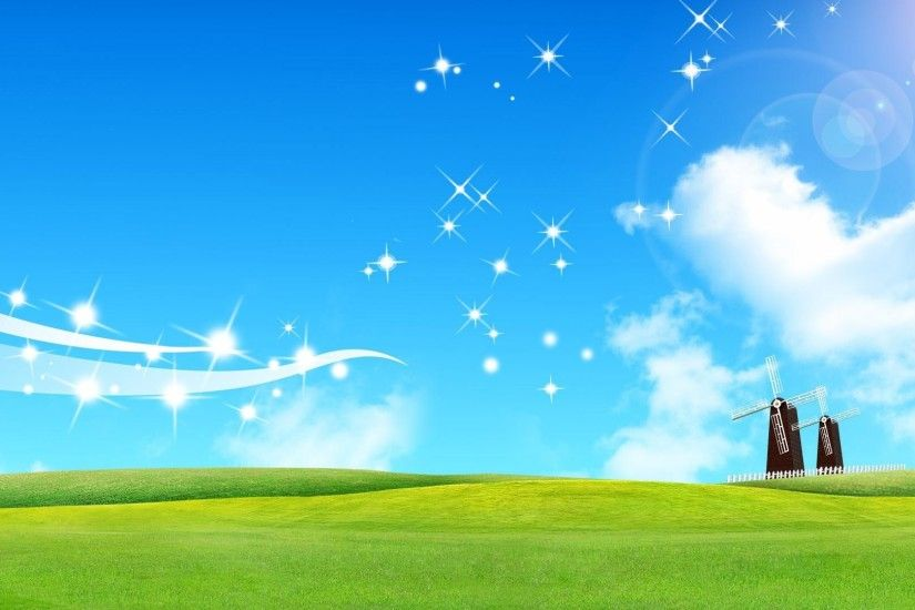 1920x1080 Hd beautiful cartoon blue sky and grassland backgrounds wide  wallpapers:1280x800,1440x900,