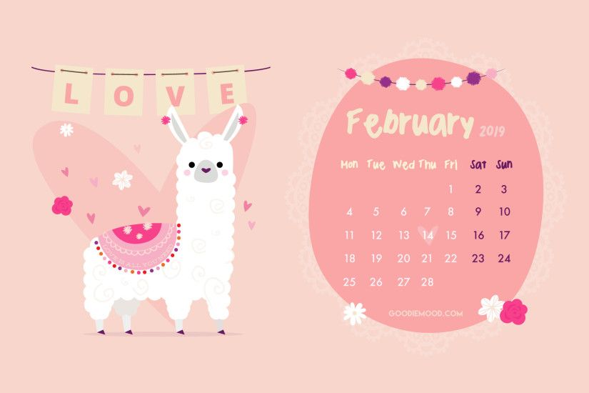 Download your free calendar for your desktop for February 2019 - cute llama