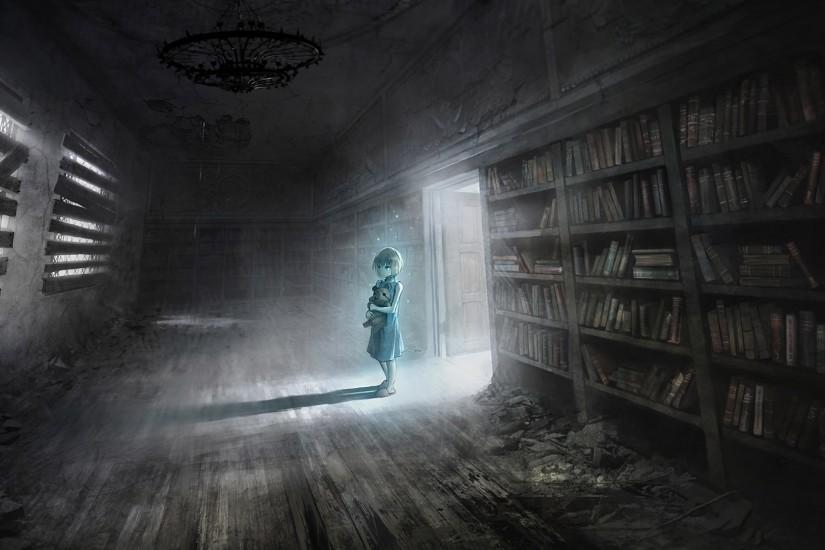 Anime girl in abandoned library wallpaper