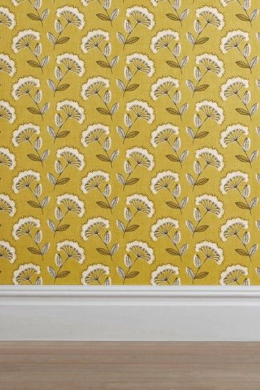 Buy Ochre Retro Cow Parsley Wallpaper from the Next UK online shop