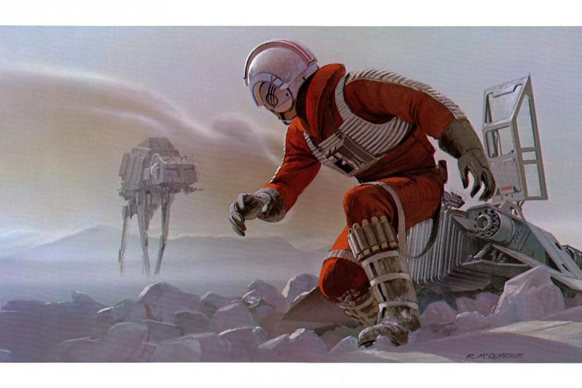 Star Wars Luke Skywalker Hoth Snow Speeder Ralph McQuarrie wallpaper .
