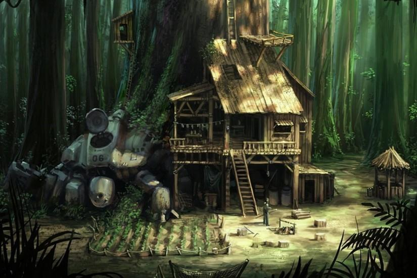 Robot Forest Treehouse Artwork Fantasy Hd Wallpaper 1920x1080px
