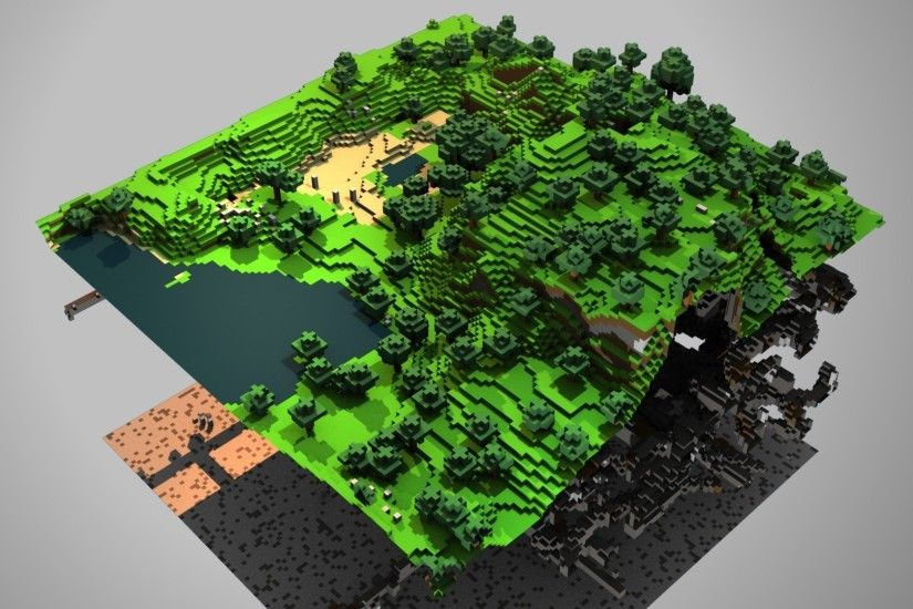 1920x1080 Wallpaper minecraft, ground, trees, lake