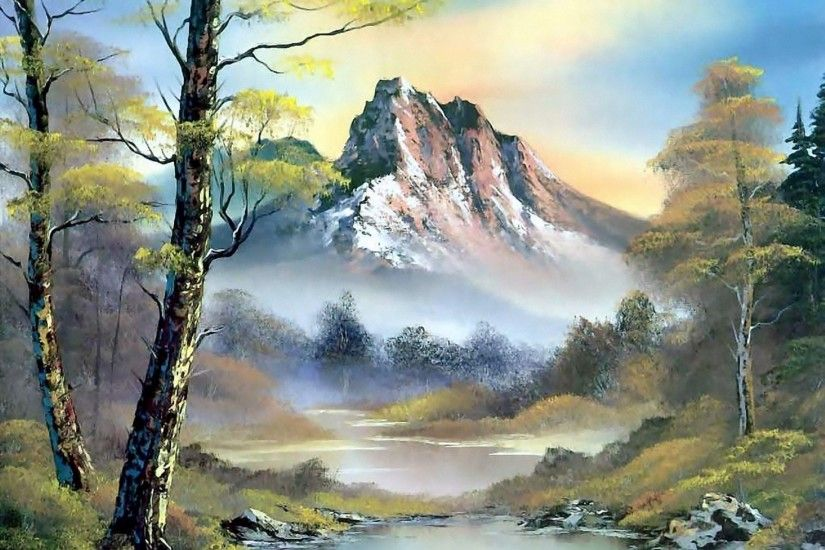 painting bob ross bob ross pattern landscape nature mountain river water  forest tree sky clouds