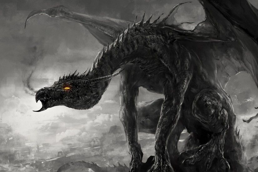 Wallpaper art, dragon, monster, black and white, monochrome, smoke .