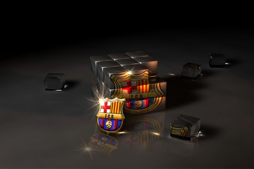 3d cube fc barcelona logo wallpaper high resolution