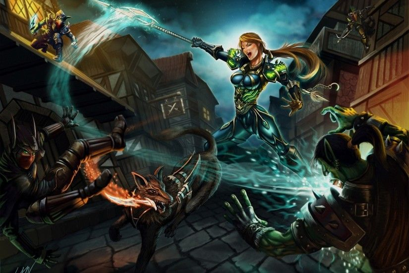 World Of Warcraft Wow Battle Orc Hunter Night Elves Battle Axes Games Girls  Fantasy 1920x1396 : Wallpapers13.com