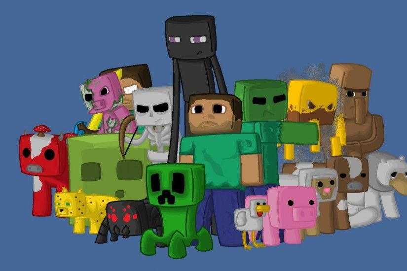 Preview wallpaper minecraft, characters, game, pixels, java 2048x1152