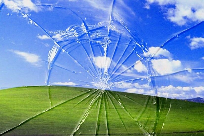 landscapes bliss windows xp broken screen trolling 1024x768 wallpaper  Wallpaper HD