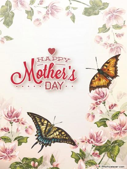Happy Mothers Day with Butterflies And Flowers Over Vintage background