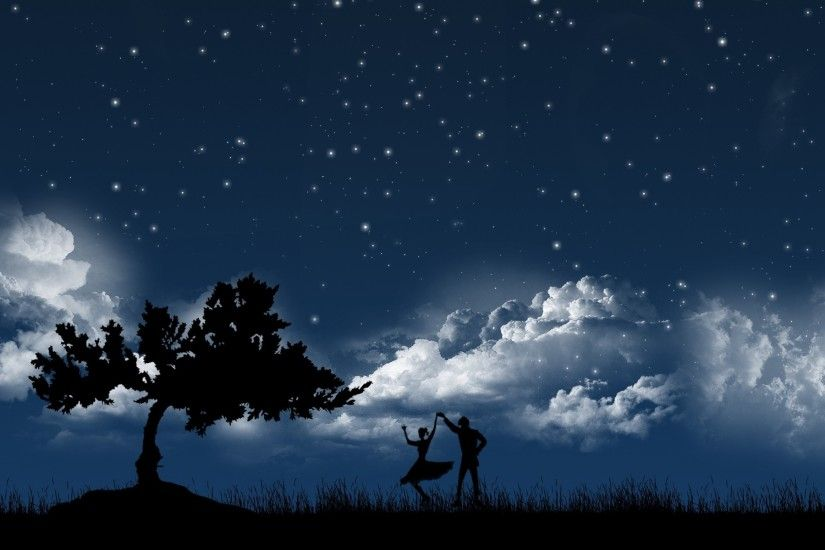 Preview wallpaper couple, dance, sky, night, tree, silhouettes 1920x1200