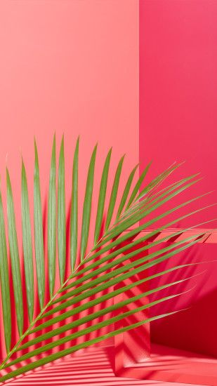 west elm - Tropical Leaves + Pink Mobile Wallpaper Download