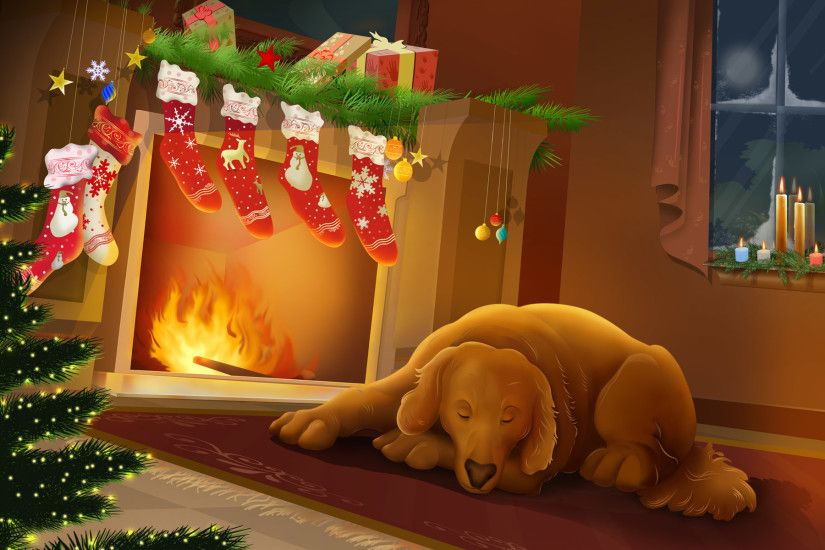 hd christmas dog cartoon images