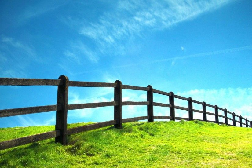 1920x1080 hd Grassland and fence nature scenery background wide  wallpapers:1280x800,1440x900,1680x1050