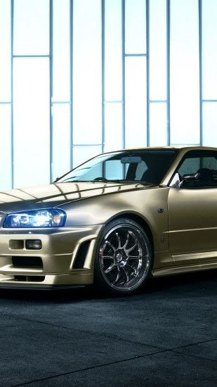 Preview wallpaper nissan skyline, r34, golden, side view 1440x2560