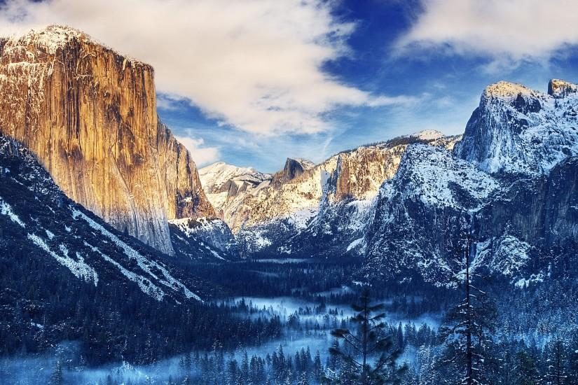 Yosemite Valley Snow Sunset 4K Ultra HD