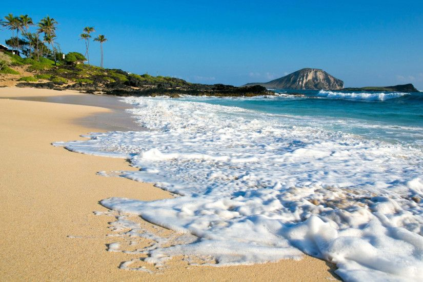 Foamy sandy beach wallpaper