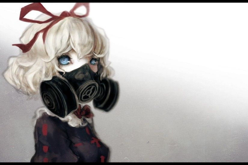 Blondes Blue Eyes Bows Gas Masks Hair Ornaments Medicine Melancholy Ribbons  Short Simple Background Touhou Video Games