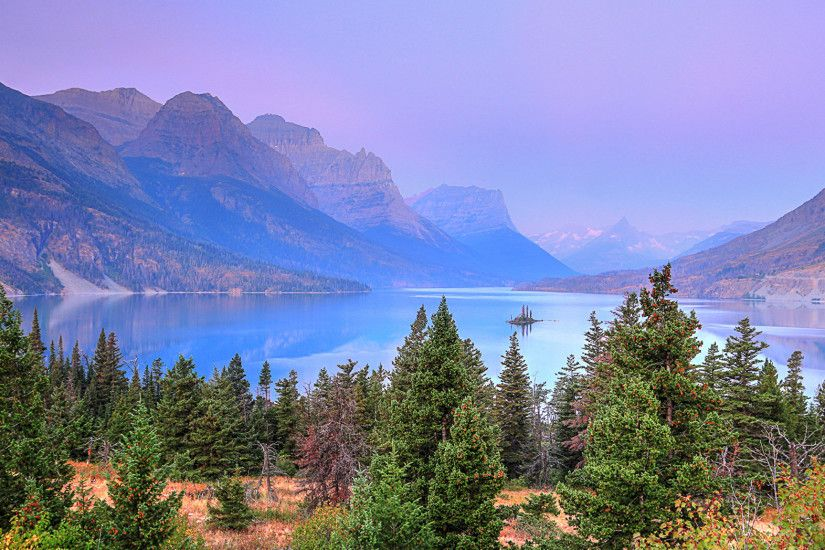 Wallpapers USA Glacier National Park Nature Spruce Mountains Lake Parks  2048x1152
