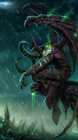 Preview wallpaper wow, illidan, world of warcraft, castle, monster, bad  weather