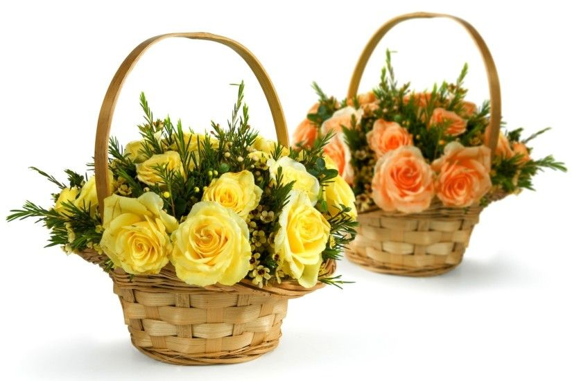 roses flower yellow pink bouquets shopping basket white background