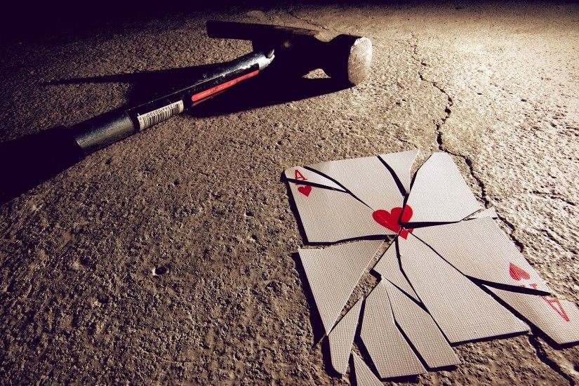 ... broken heart cards hammer playing shattered walldevil; playing cards  wallpaper ...