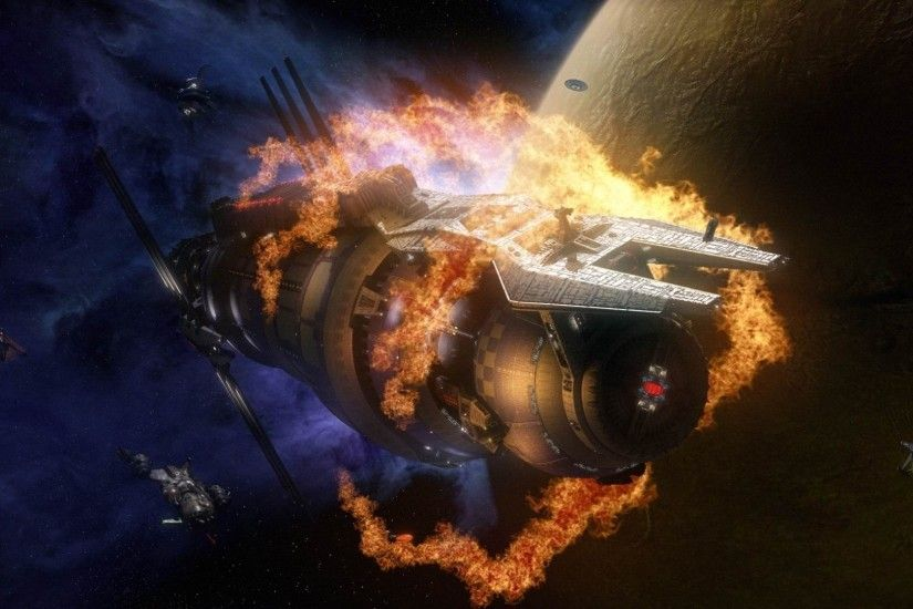 wallpaper babylon 5 space station fire from film.
