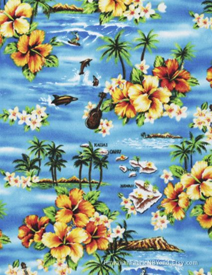 Cotton canvas fabric: Tropical island, beach, floral and ukulele on a  background of