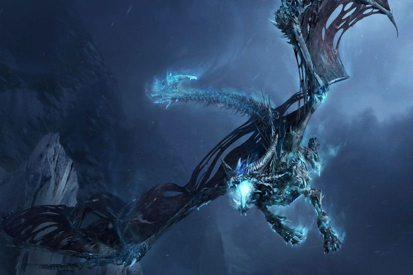 Video Game - World Of Warcraft Fantasy Keyblade Dragon Ice Flying Wallpaper
