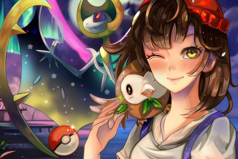 Pokemon Sun And Moon, Lunala, Rowlet, Wink, Anime Girl