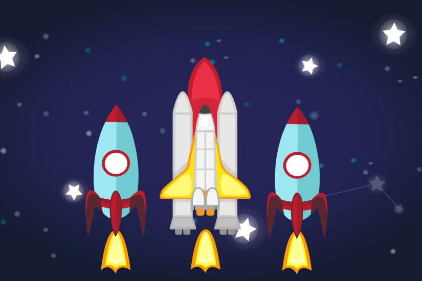 Animation of childish astronomy science subject header with colorful text  and planet stars rocket space shuttle icon used for education introduction  in ...