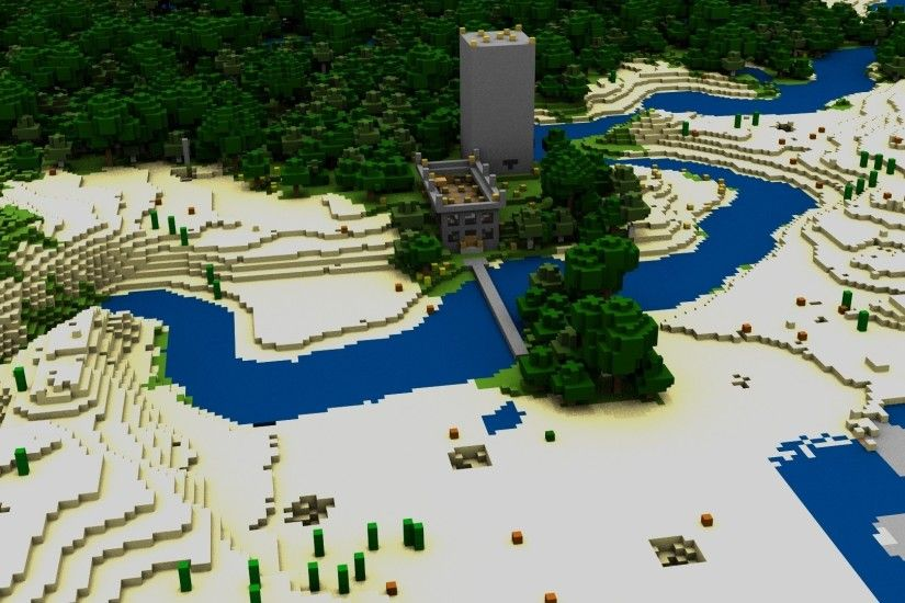 Preview wallpaper minecraft, house, bridge, river, trees 1920x1080