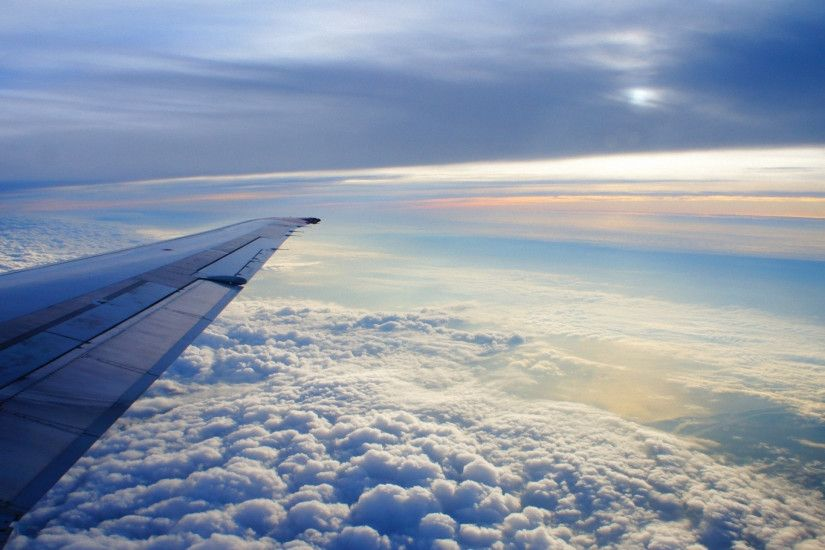 2560x1440 Wallpaper sky, altitude, clouds, airplane, wing, flying, soaring,