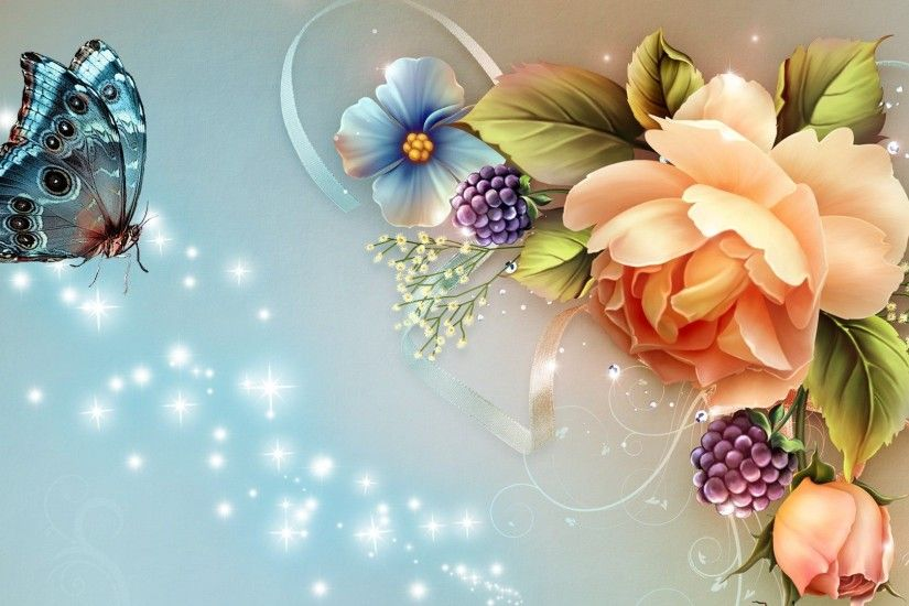 Butterfly With Flowers Wallpapers Al079b