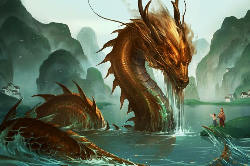 Chinese Dragon In Ocean Wallpapers 3D.