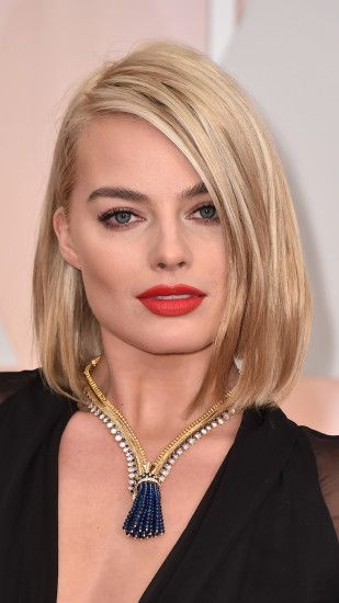 ... Margot Robbie with red lips Celebrity mobile wallpaper