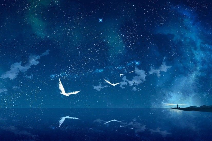 Wallpapers For > Blue Night Sky Stars Wallpaper