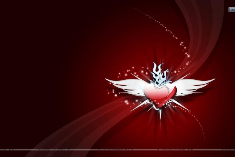"You are viewing wallpaper titled ""Red Heart With White Wings ..."