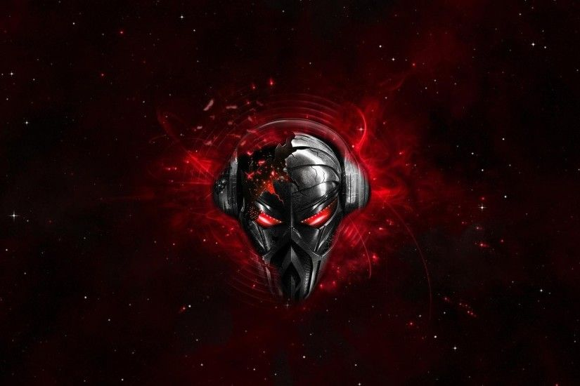 Preview wallpaper pirate station, skull, graphics, headphones, space  1920x1080