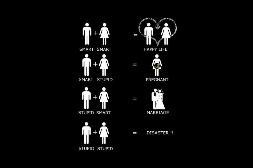 Minimalism Wallpaper, humor, smart, stupid, funny, bride and groom .