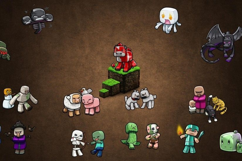 Minecraft, Video Games, PC Gaming, Gamers, Brown Background, Steve, Creeper,  Zombies, Skeleton, Witch, Spider Wallpapers HD / Desktop and Mobile  Backgrounds