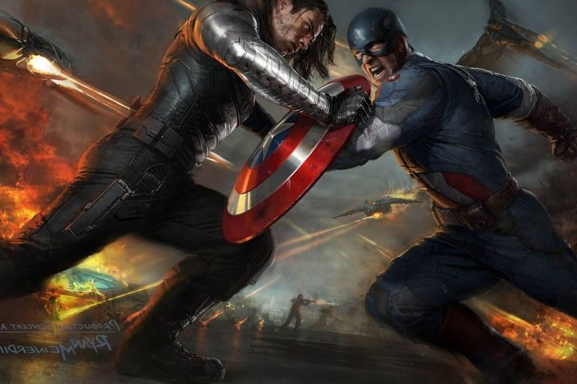 movies, Captain America: The Winter Soldier, Captain America, Concept Art,  Bucky Barnes, Fighting Wallpapers HD / Desktop and Mobile Backgrounds